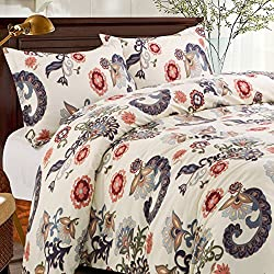 KINA LINEN 3 Piece Floral Duvet Cover Set, Luxury Soft Brushed Microfiber Fabric, Full Queen Size, Cream Color