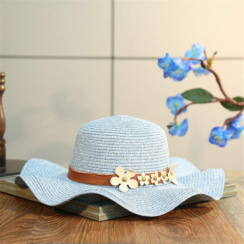 YEZIJIN Women Beach Straw Hat Jazz Sunshade Panama Trilby Fedora Hat Gangster Cap