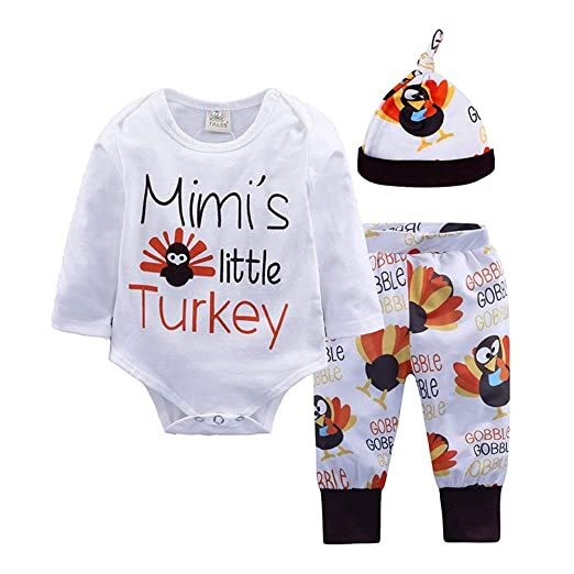 9ba30042a Amazon.com: Thanksgiving Outfits Mommys Little Turkey Kids Tshirt Onesie  Baby Girl Boy Onsie Clothes Set Long Sleeve Romper Shirt: Clothing