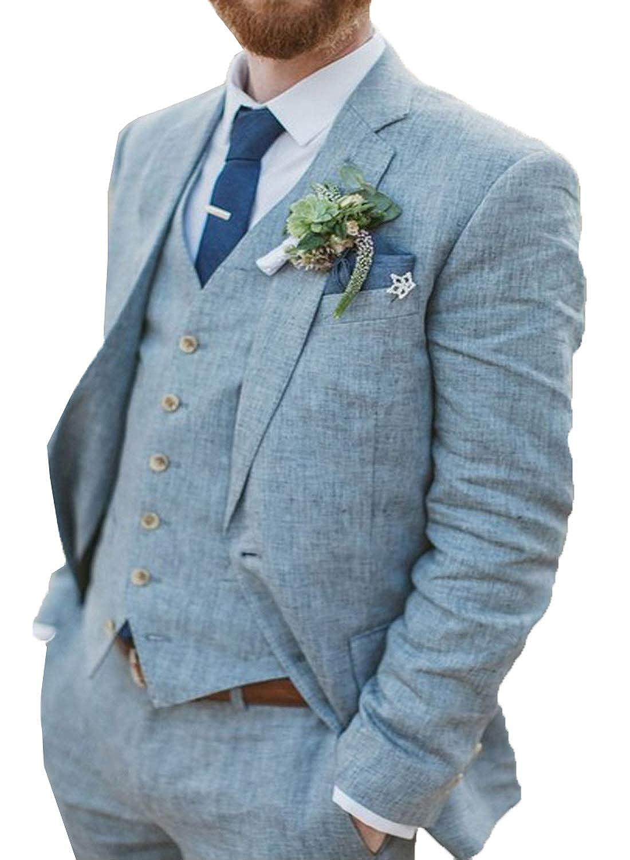Mens Linen 3-Piece Formal Suit Jacket Pants Vest Set Casual Prom Blazer