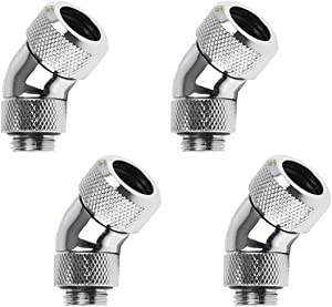 """Alphacool Eiszapfen G1/4"""" HardTube Compression Fitting, 13mm OD, 45° Rotary (for Use with Alphacool Rigid Tubing Only), Chrome, 4-Pack"""