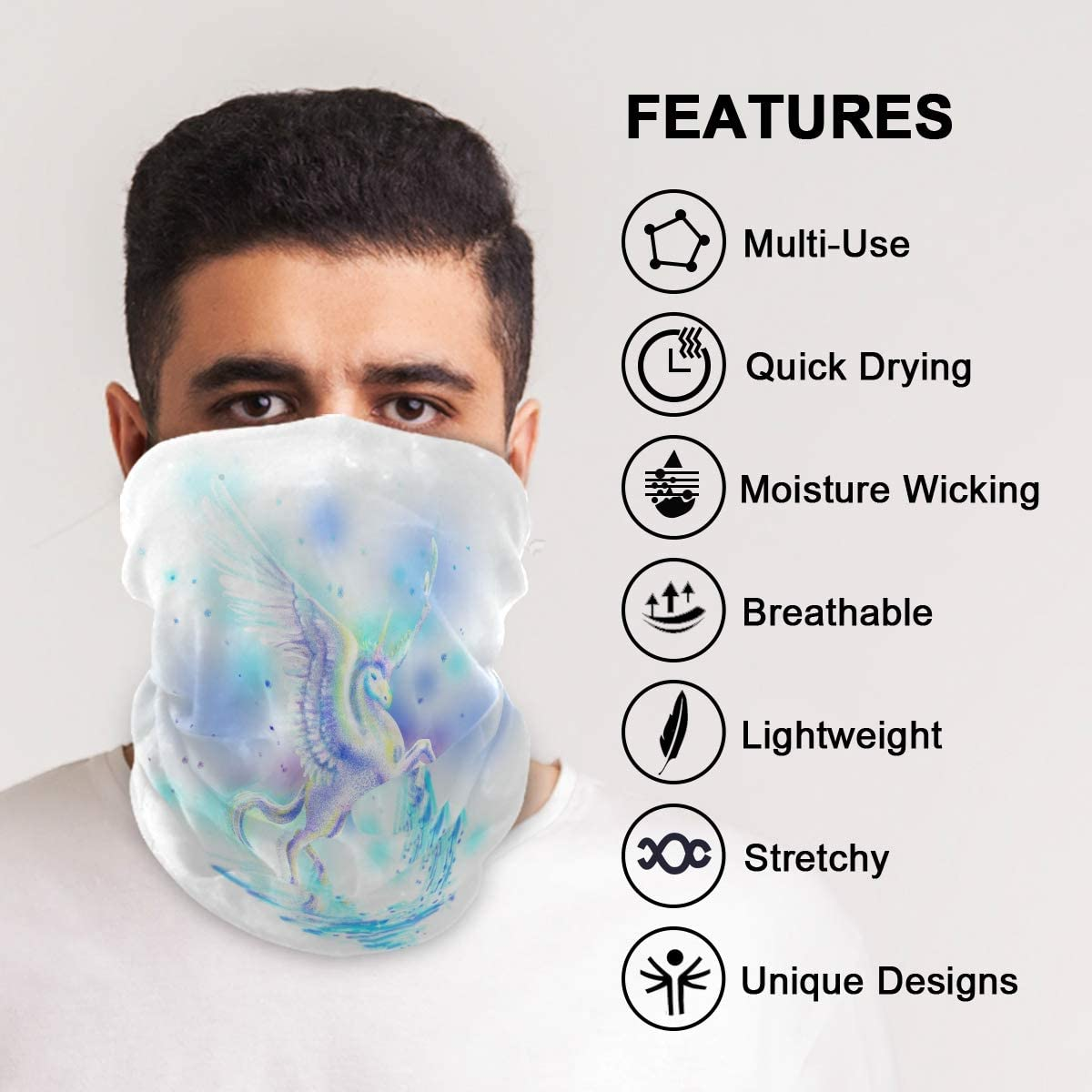 BEUSS White Fantasy Angel Unicorn Face Protection Mask Scarf Bandana Headwear Headband UV Dust Proof Windproof for Cycling Hiking Outdoor for Boys Girls Adult