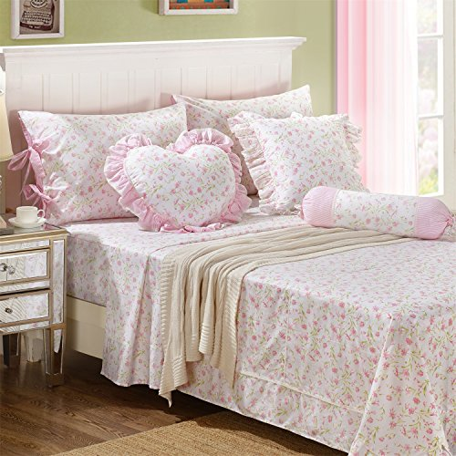 FADFAY Shabby Floral Chic Cotton Bed Sheet Set 4-Piece Queen (Chic Queen)