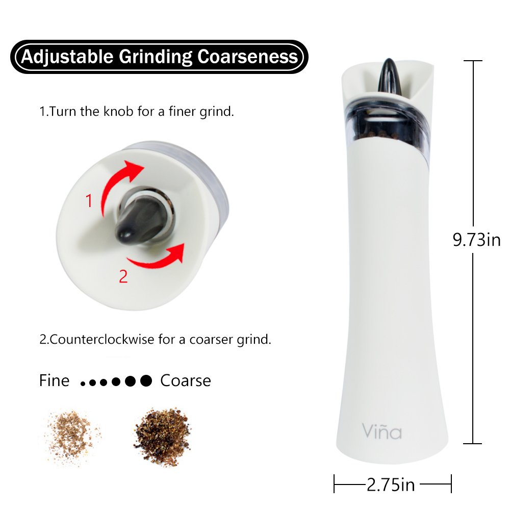 Vina Electric Gravity Salt Pepper Grinder Set, Adjustable Grinding Coarseness Automatic Shaker Mills with Ceramic Core, Free Garlic Roller Included, Pack of 2, White