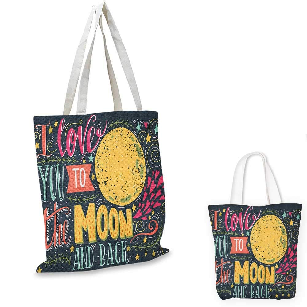 I Love You canvas messenger bag Vintage Style I Love You to the Moon and Back Calligraphy Valentines Romance canvas beach bag Ruby Marigold 16x18-13
