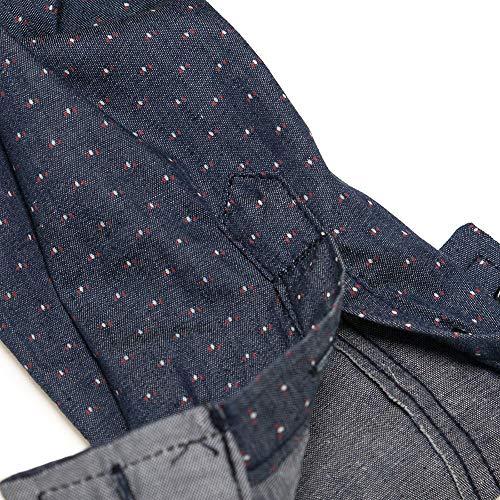 Blusa de Hombre, Polo de Hombre, Camisetas de Hombre, BaZhaHei, Tops de Manga Larga de Punto Vaquero para Hombre de Hombre Point Denim Botón de Manga Larga ...