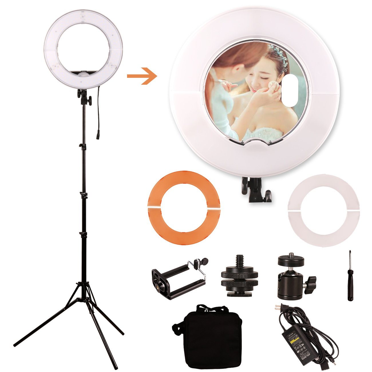 GINSON 12 Inch 180LED Mirror Ring Light with Stand,Makeup Artist Light, Photography Lights