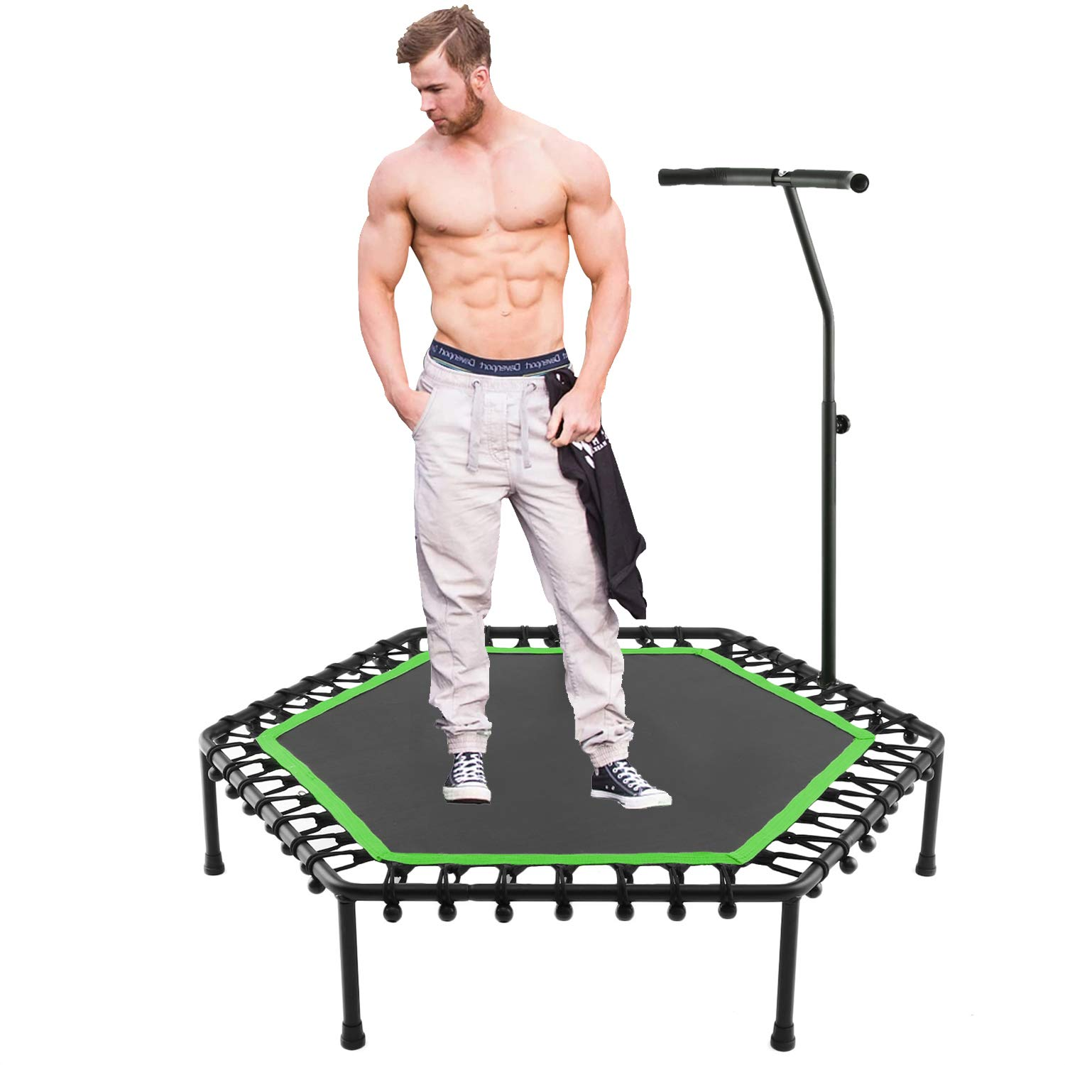 50'' Silent Rebounders Mini Trampolines Exercise Indoor with Adjustable Handrail for Adults Kids Max 220 lbs