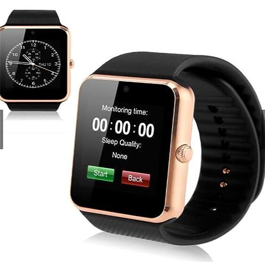 Reloj Inteligente, GT08 Bluetooth Reloj Inteligente con Ranura para Tarjeta SIM y NFC Smart Salud Reloj para Android (Full Funciones) y iOS (Funciones ...