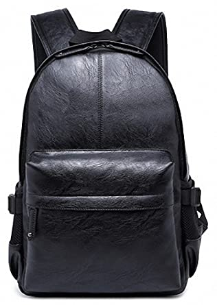 Amazon.com | Kenox Vintage PU Leather Backpack School College ...