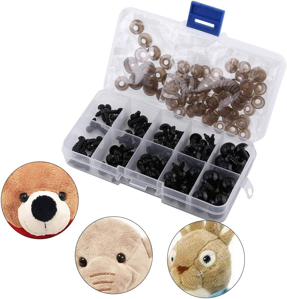 NATRUSS Safety Eyes 100Pcs Toy Bears for Puppets Dolls for Doll Teddy Bear Plastic Craft Eyes Stuffed Animal Eyes