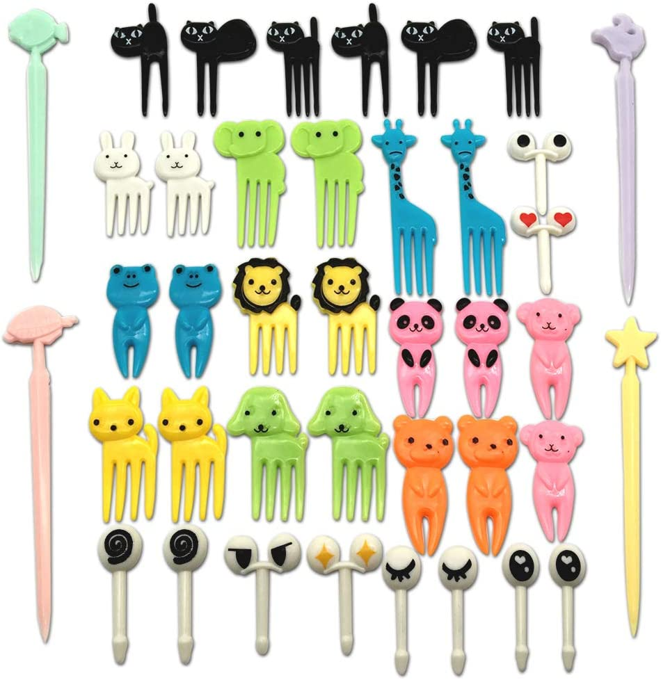 CKANDAY Set of 40 Lovely Animal Food Fruit Picks Forks, Mini Cute Cartoon Toothpick Sticks Decor for Kids Party Bento Lunch Box Sandwich Appetizer Pastry Decorative Cupcake Baby Dessert Cocktail