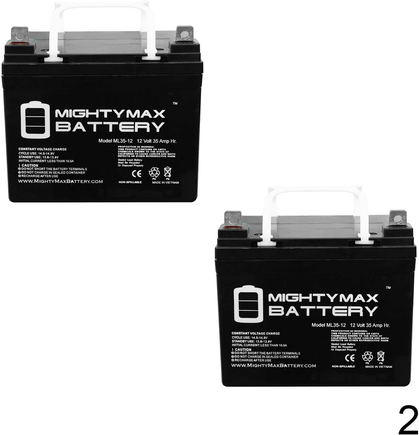 Mighty Max Battery ML35-12 - 12 Volt 35 AH SLA Battery - Pack of 2 Brand Product