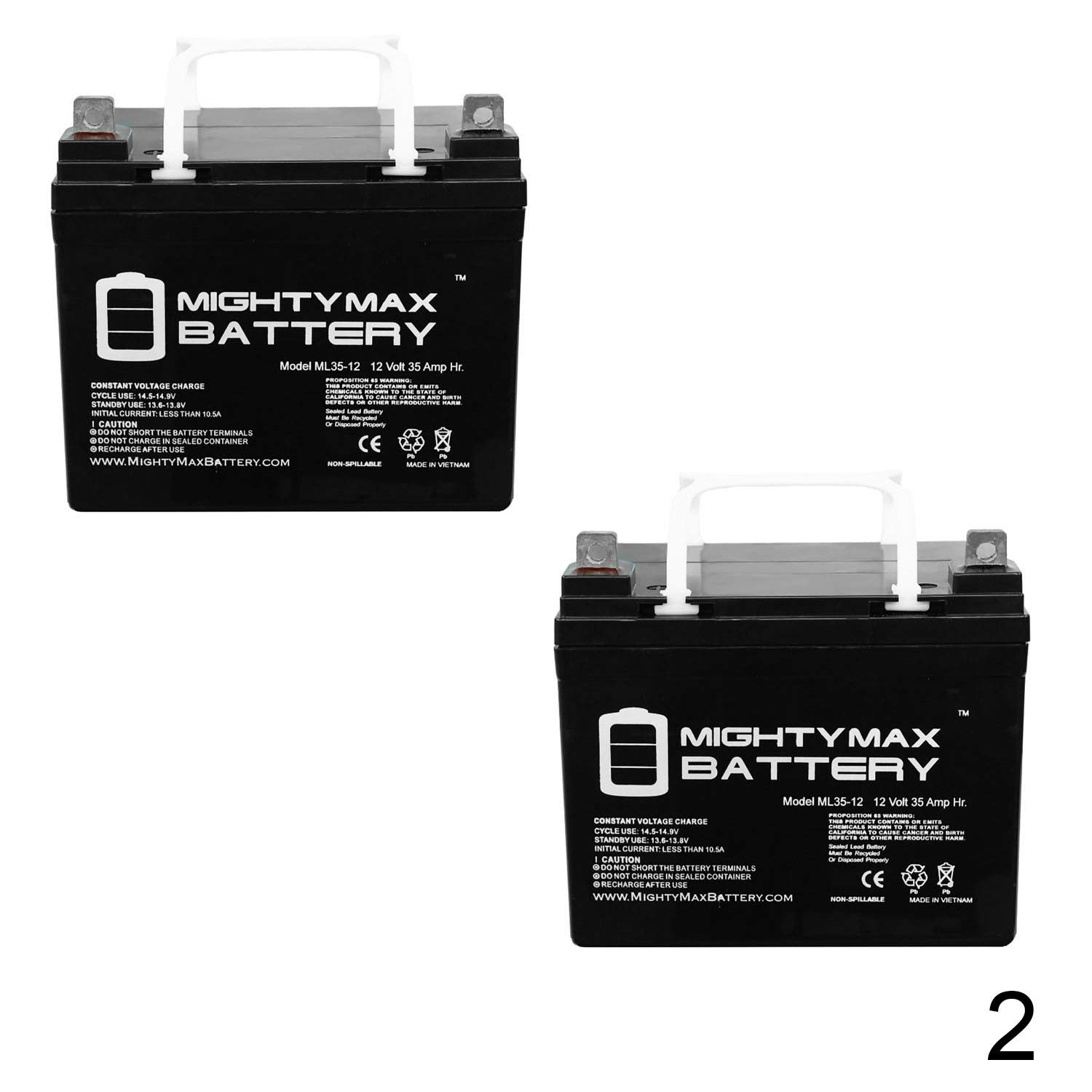 Mighty Max Battery ML35-12 - 12V 35AH U1 Wheelchair Scooter Battery Replaces 31Ah MX-12310-2 Pack Brand Product by Mighty Max Battery