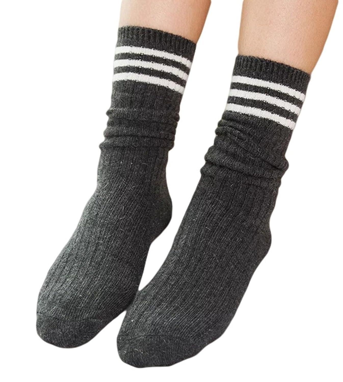 Smile YKK Womens Fall Winter Striped Casual Wool Warm Loose Socks