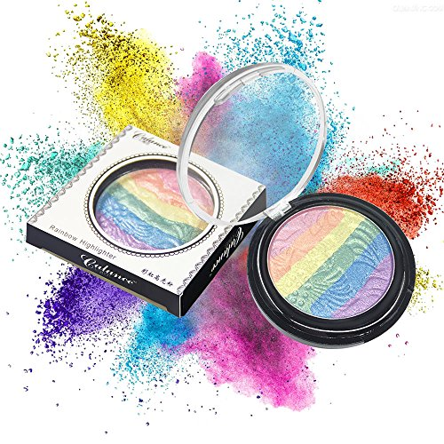 Iskas Rainbow Highlighter Colorful Shimmer Powder Blusher Eyeshadow Palette Face Eye Makeup Rainbow Color Blush Shadow Contour Cosmetics (Highlighter Rainbow)