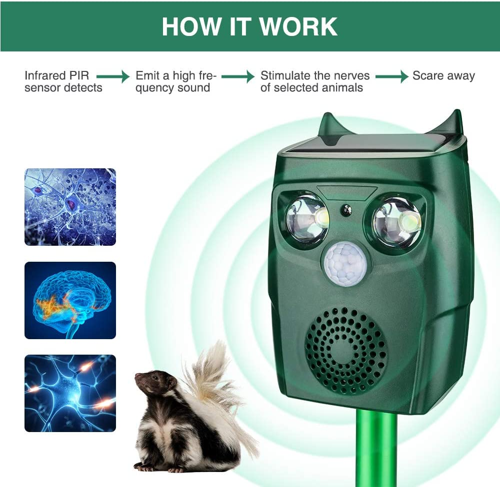 ULTPEAK Ultrasonic Pet Animal Repeller Rechargeable Waterproof Outdoor Solar and USB Adapter Charge Ultrasonic Animal Control, Garden Use Flashing Cats Dogs Squirrel Birds etc Pest Repeller