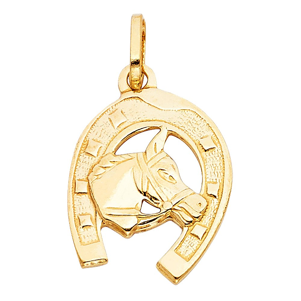 with 18 Rolo Chain 23mm x 18mm Million Charms 14k Yellow Gold Lucky Horseshoe Charm Pendant with Horse Head
