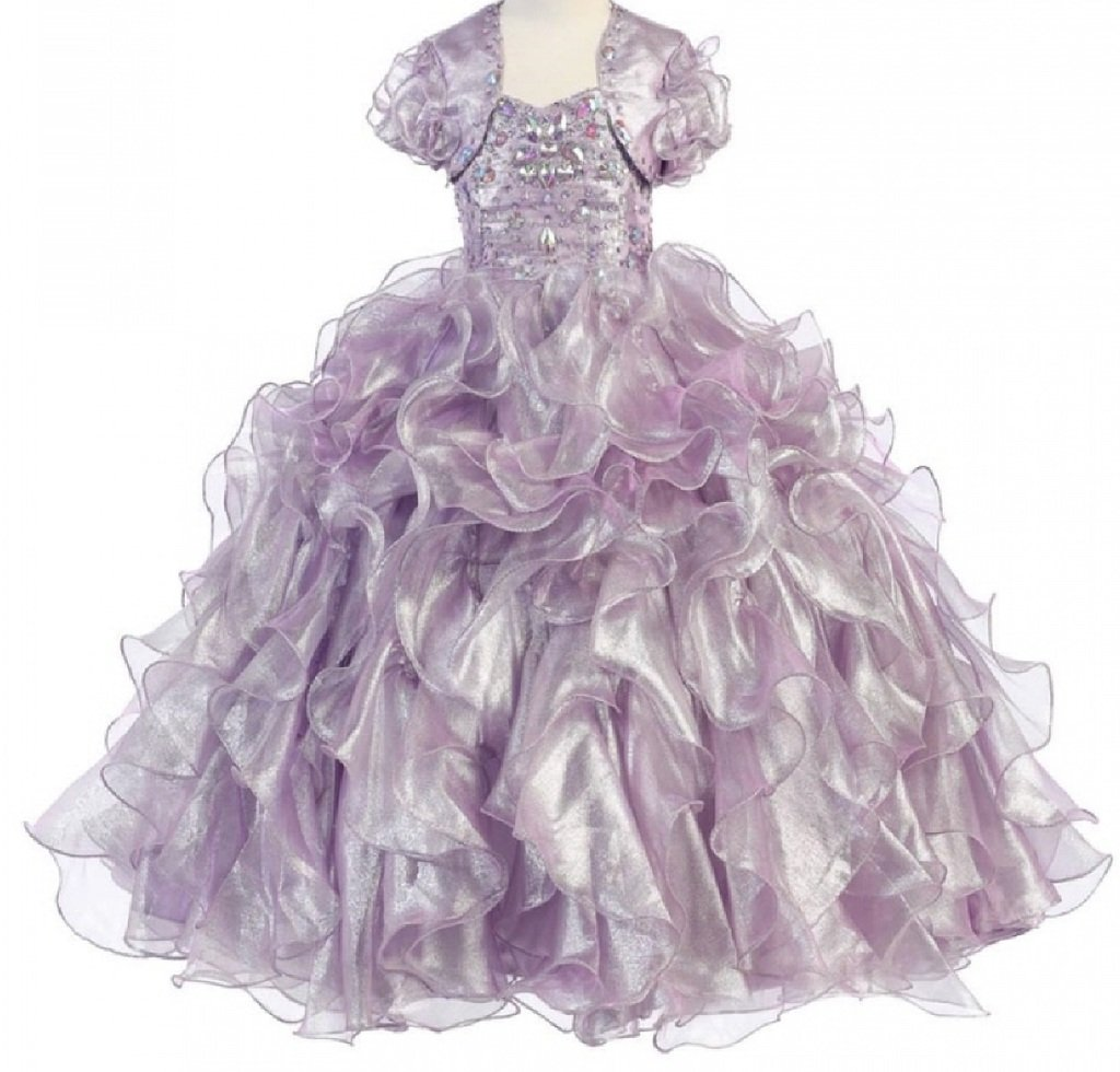 Big Girls' Princess Pageant Ball Gown Ruffled Flowers Girls Dresses Lilac 8
