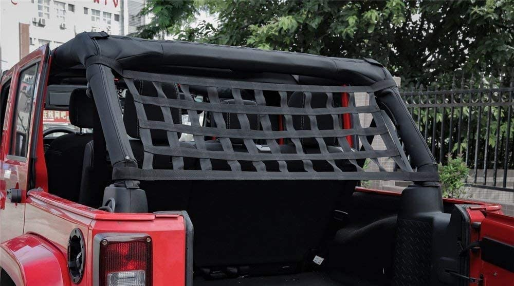 JK,JL YJ 1996-2018 Roof Storage Roll Cage Bar Restraint Rear Top Cargo Net for Jeep Wrangler,Car Roof Hammock Car Bed Rest Jeep Wrangler Accessories YJ TJ
