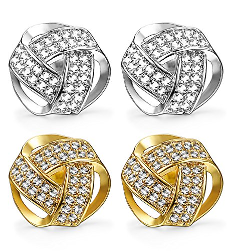 Udalyn 2 Pairs 20G Twisted Love Knot Earring Stainless Steel CZ Stud For Women