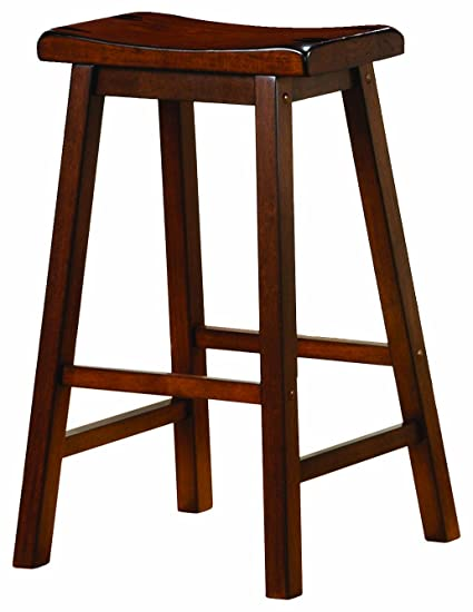 Amazoncom Wooden 24 Counter Stools Chestnut Set Of 2 Kitchen
