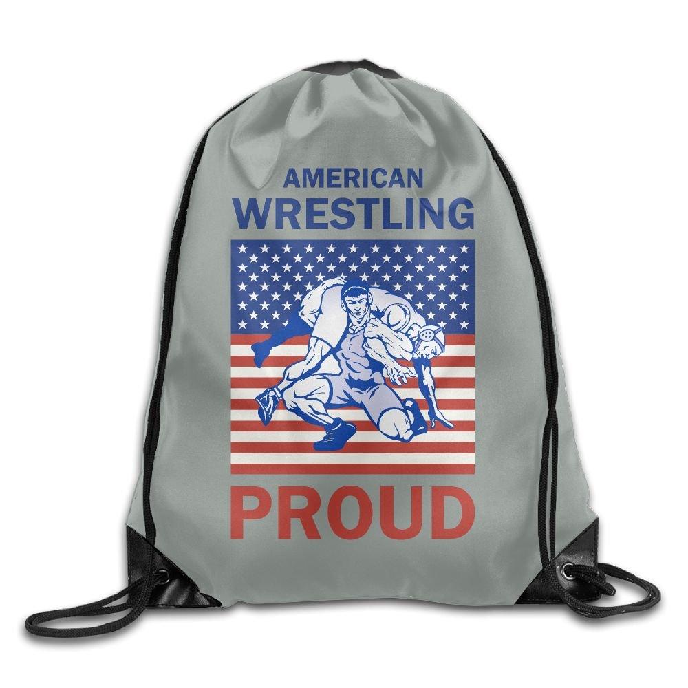 American Wrestling Proud Wrestler Gray Drawstring Backpack Rucksack Gym Bag Travel Sports Bag