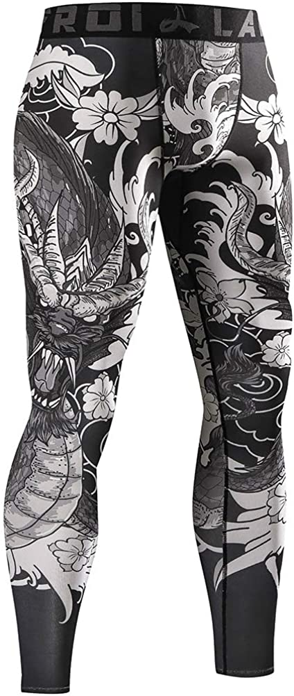 LAFROI Mens Quick Dry Cool Compression Fit Tights Leggings Waistband-YSK08