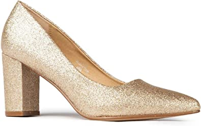 J Adams Jolie Heels for Women Closed Pointed Toe Mid Block Heel Classic Pumps