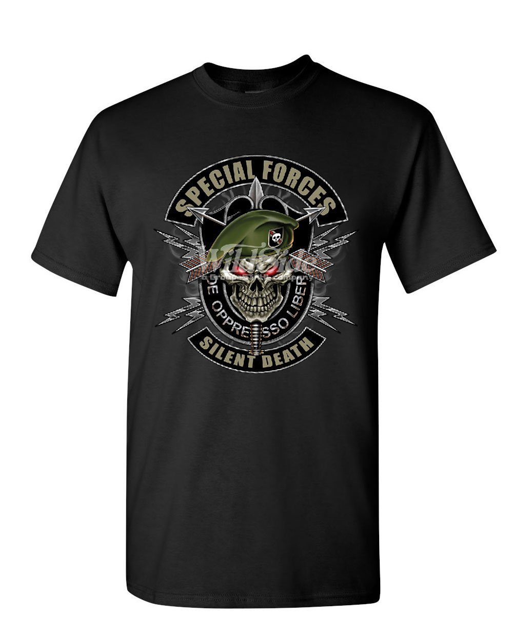 Special Forces Tshirt Army Silent Death Green Berets Skull S T