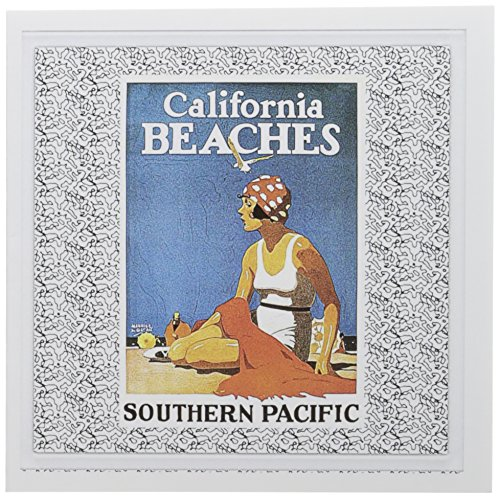 - 3dRose Vintage California Beaches Travel Advertising Poster - Greeting Cards, 6 x 6 inches, set of 6 (gc_113992_1)