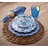 18 Piece Melamine Dinnerware Set Blue'French Country'