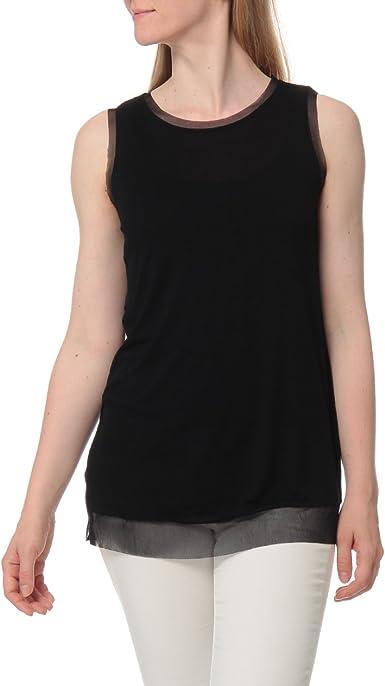 TALLA S. Sisley Round Neck Tank-Top Camiseta sin Mangas para Mujer