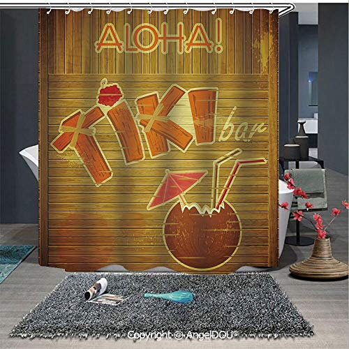 AngelDOU Tiki Bar Decor Fashion Styles Printed Shower Curtain Wooden Planks Wall with Styled Tiki Bar Text Cocktail Hibiscus Aloha for Home Hotel Club Bathroom Decoration
