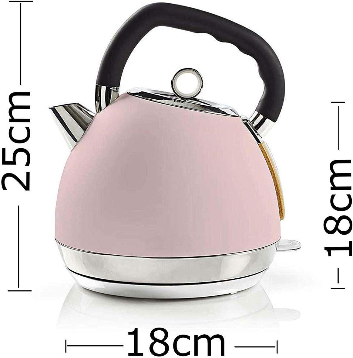Retro Design Frühstücksset Toaster Edelstahl rosa Wasserkocher Holz Design