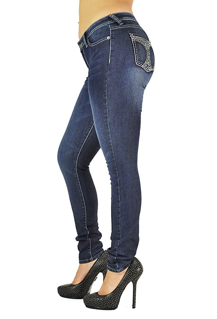 Poetic Justice Women Curvy Fit Medium Blue Denim Stud Bling Pockets Skinny Jeans