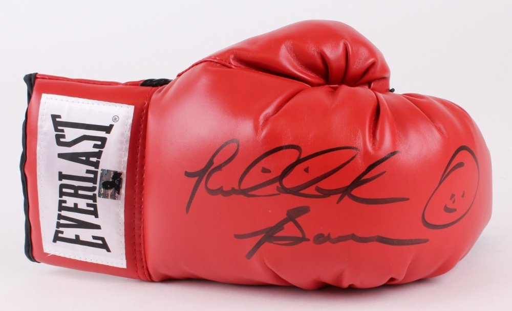 RIDDICK BOWE AUTOGRAPHED RED EVERLAST BOXING GLOVE w/RIDDICK BOWE HOLOGRAM