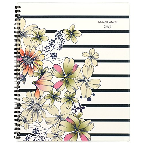 "AT-A-GLANCE Weekly / Monthly Planner / Appointment Book 2017, 8-1/2 x 11"", Monique, Stripe Floral (178-905)"