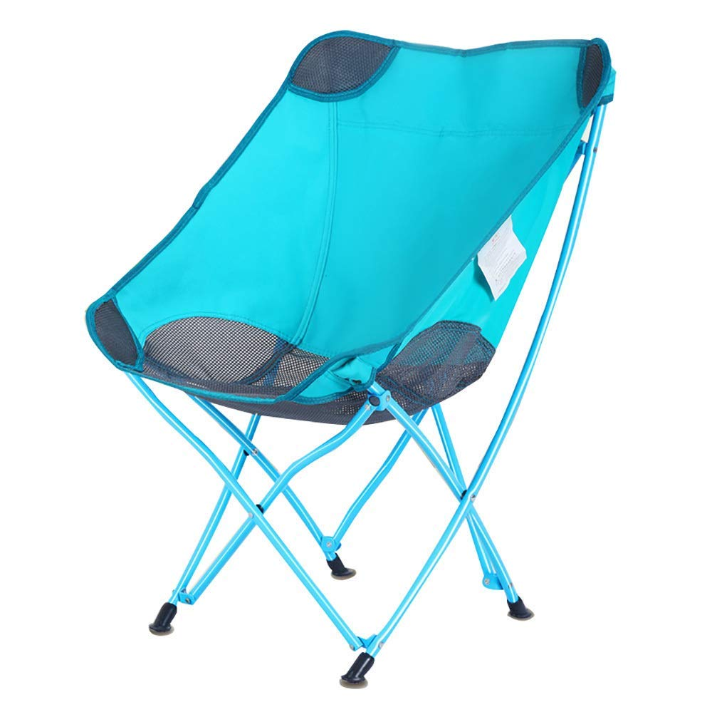 Folding Camp Chair Ultralight Portable Foldable Breathable Chair with Free Storage Bag for Outdoor, Festival, Beach, Hiking-Blue by BSDBDF