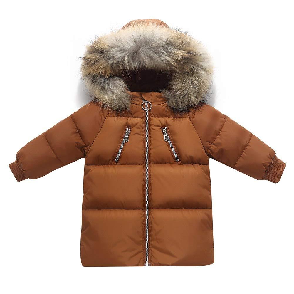 Happy childhood Kids Boys Girls Mid Long Parka Down Hooded Jacket Coat Coat Autumn Winter Thicken Warm Children Clothes Brown 90