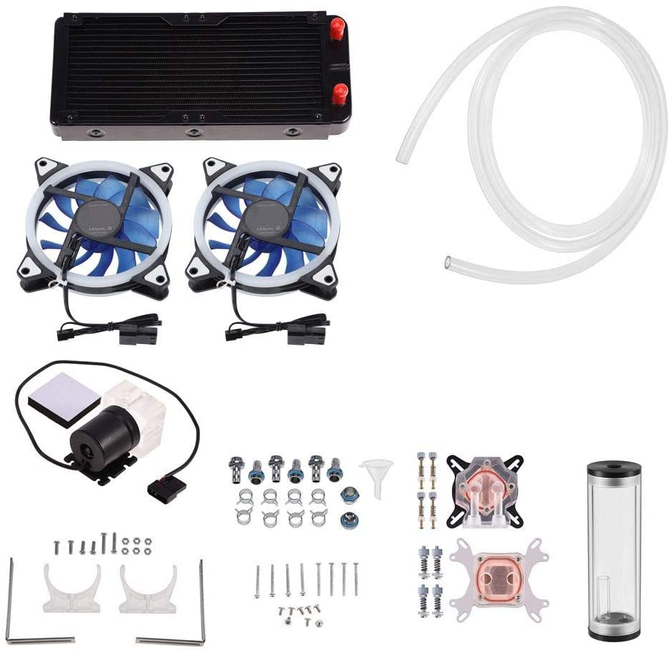 Zopsc DIY Compputer Water Cooling Kit with 240mm Heat Sink, LED Fan, CPU/GPU Block, Water Pump Reservoir,Transparent Hose, etc