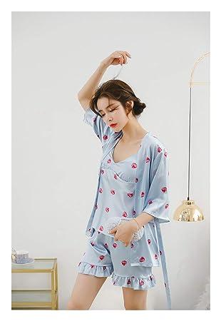 HAOLIEQUAN Pijamas De Mujer Pijama De Satén Se2o con Traje De Encaje 3Pcs Top + Shorts