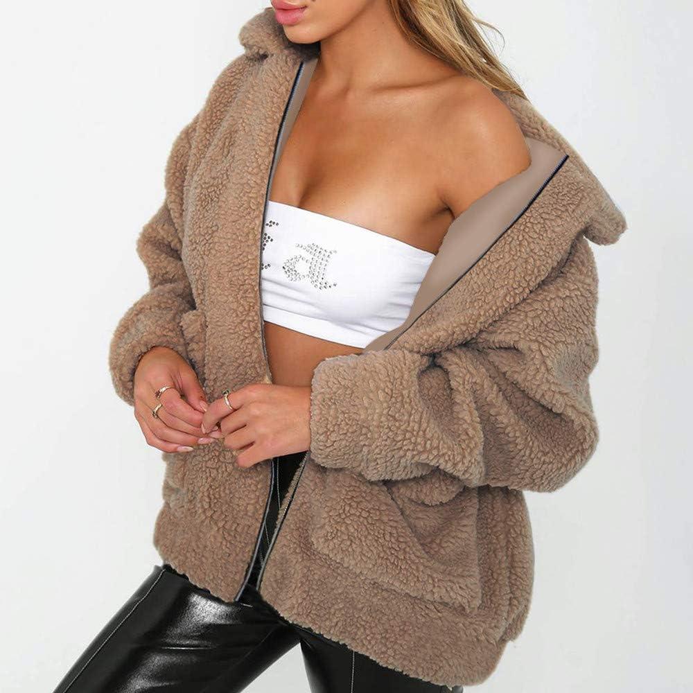 Sunmoot Teddy Bear Coat for Womens Winter Lapel Faux Fur Jacket Long Sleeve Winter Boyfriend Coats