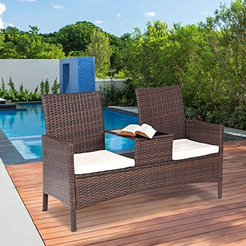 TANGKULA Outdoor Furniture Set Paito Conversation Set with Remoable Cushions & Table Wicker Modern Sofas for Garden Lawn Backyard Outdoor Chat Set (loveseat)