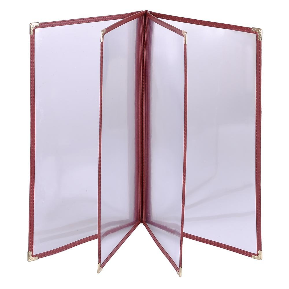 Chimaera (20-Pack) Legal Size 8.5'' x 14'' Clear Transparent Shatterproof Restaurant 8-View Menu Holders with Gold Corners (Red Trim) by CHIMAERA (Image #1)