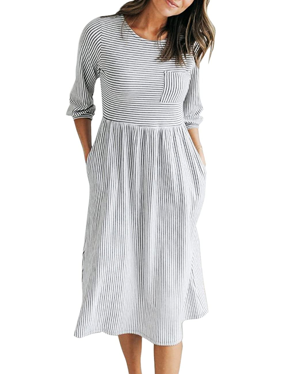 dad1e7c927b69 MEROKEETY Women's 3/4 Balloon Sleeve Striped High Waist T Shirt Midi Dress  with Pockets at Amazon Women's Clothing store: