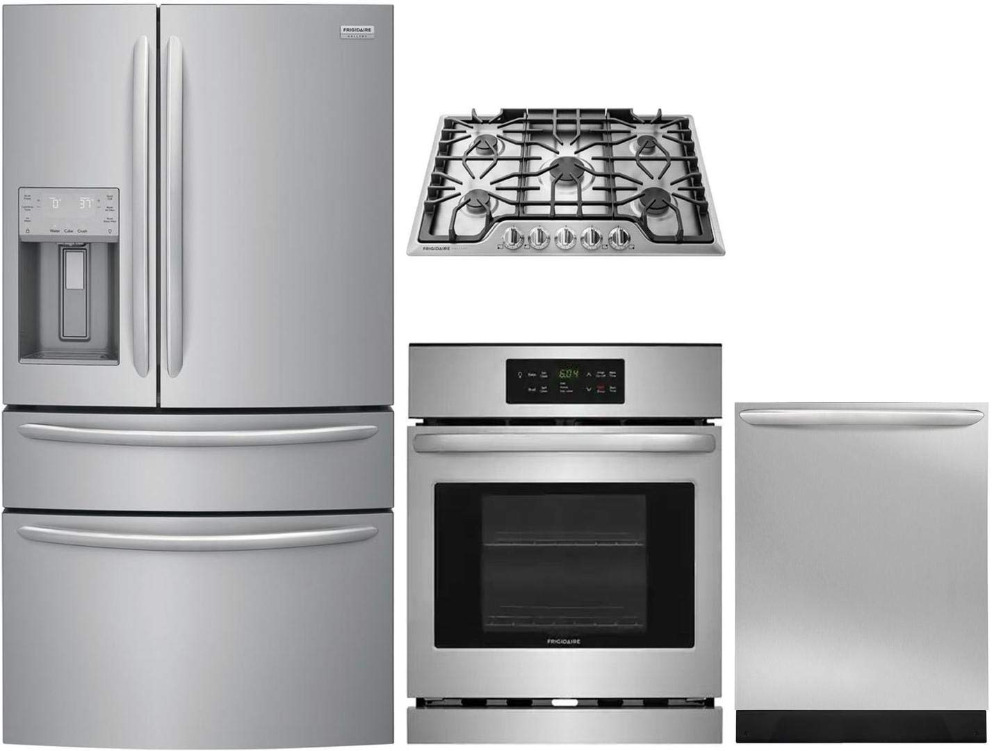 """Frigidaire 4 Piece Kitchen Appliance Package FG4H2272UF 36"""" French Door Refrigerator,FFEW2426US 24"""" Electric WallOven,FGGC3047QS 30""""Gas Cooktop, FGID2466QF 24"""" Built In Dishwasher in Stainless Steel"""