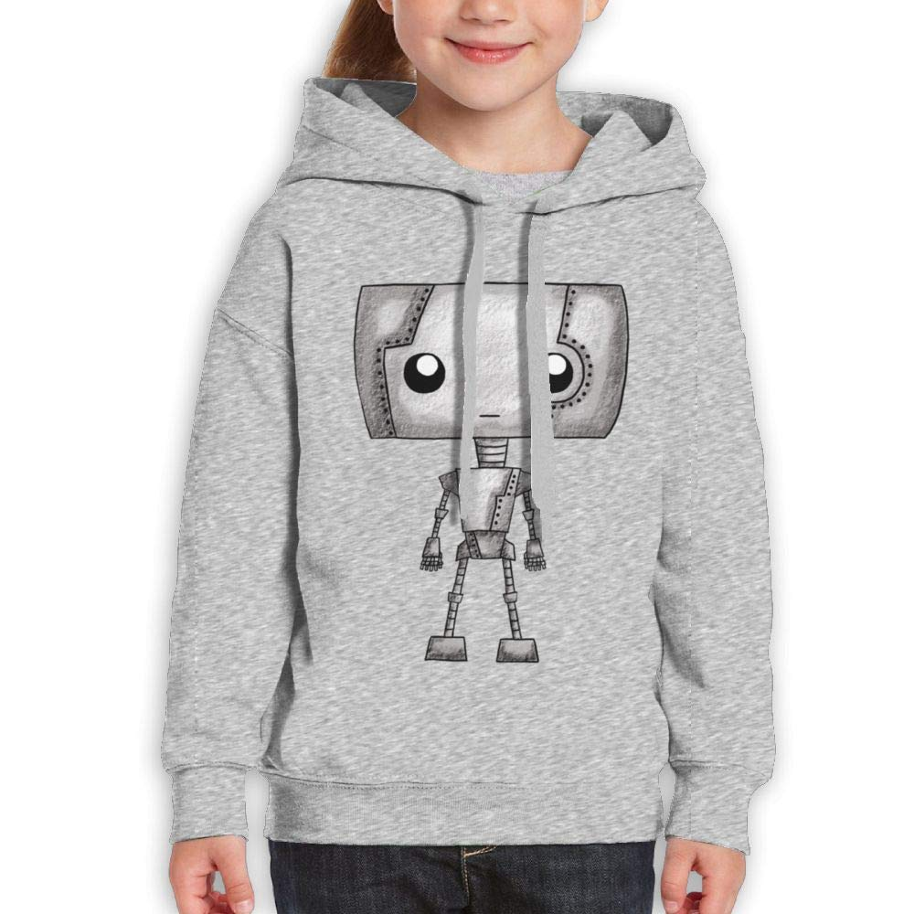 Qiop Nee Cute Expressionless Robot Kids Hooded Print Long Sleeve Sweatshirts for Girl's
