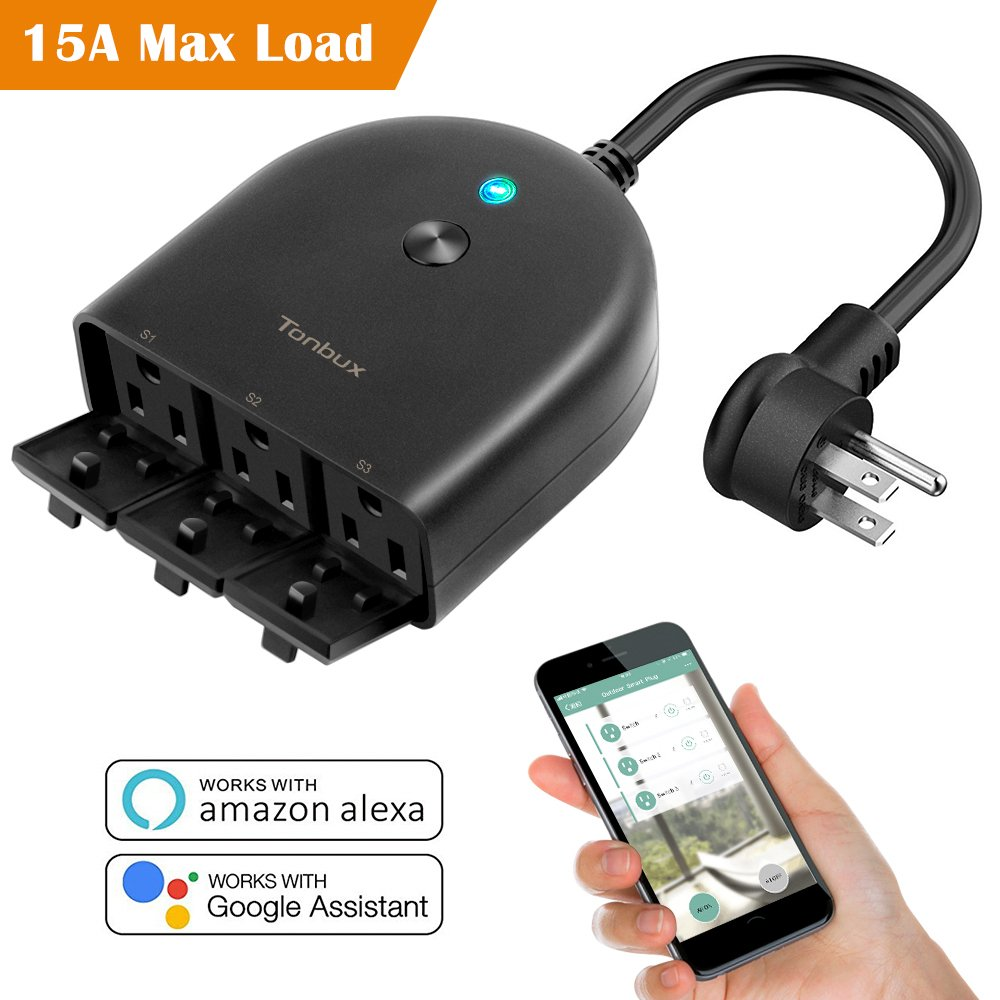Outdoor Smart Wifi Plug Outlet,Tonbux Wireless (1 In 3 Out) Individual Remote Control Switches Lights Timer Indoor Socket,On/Off,Compatible with Alexa/Echo Google Home Assistant By Smart Phone