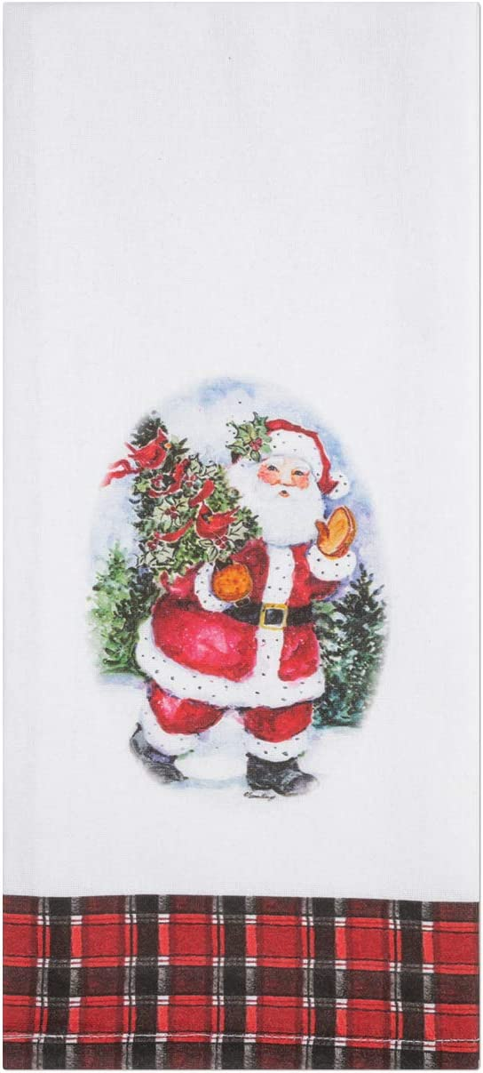 Brownlow Gifts 100% Cotton Christmas Tea Towel, 18 x 28-Inches, Santa Claus